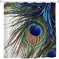 Goodbath Peacock Shower Curtain,Peacock Feather Eye Waterproof Fabric Bathroom Shower Curtains,72 x 72 Inch, Colorful