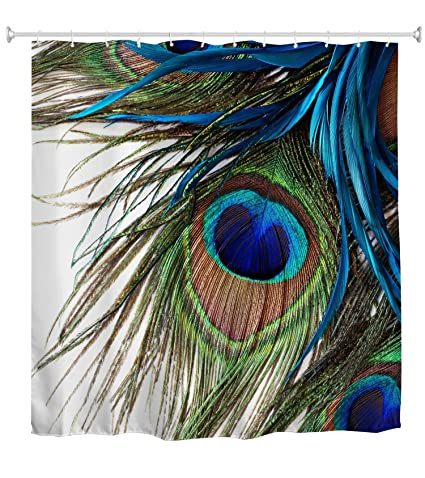 Goodbath Peacock Shower CurtainPeacock Feather Eye Waterproof Fabric Bath Curtains72 X