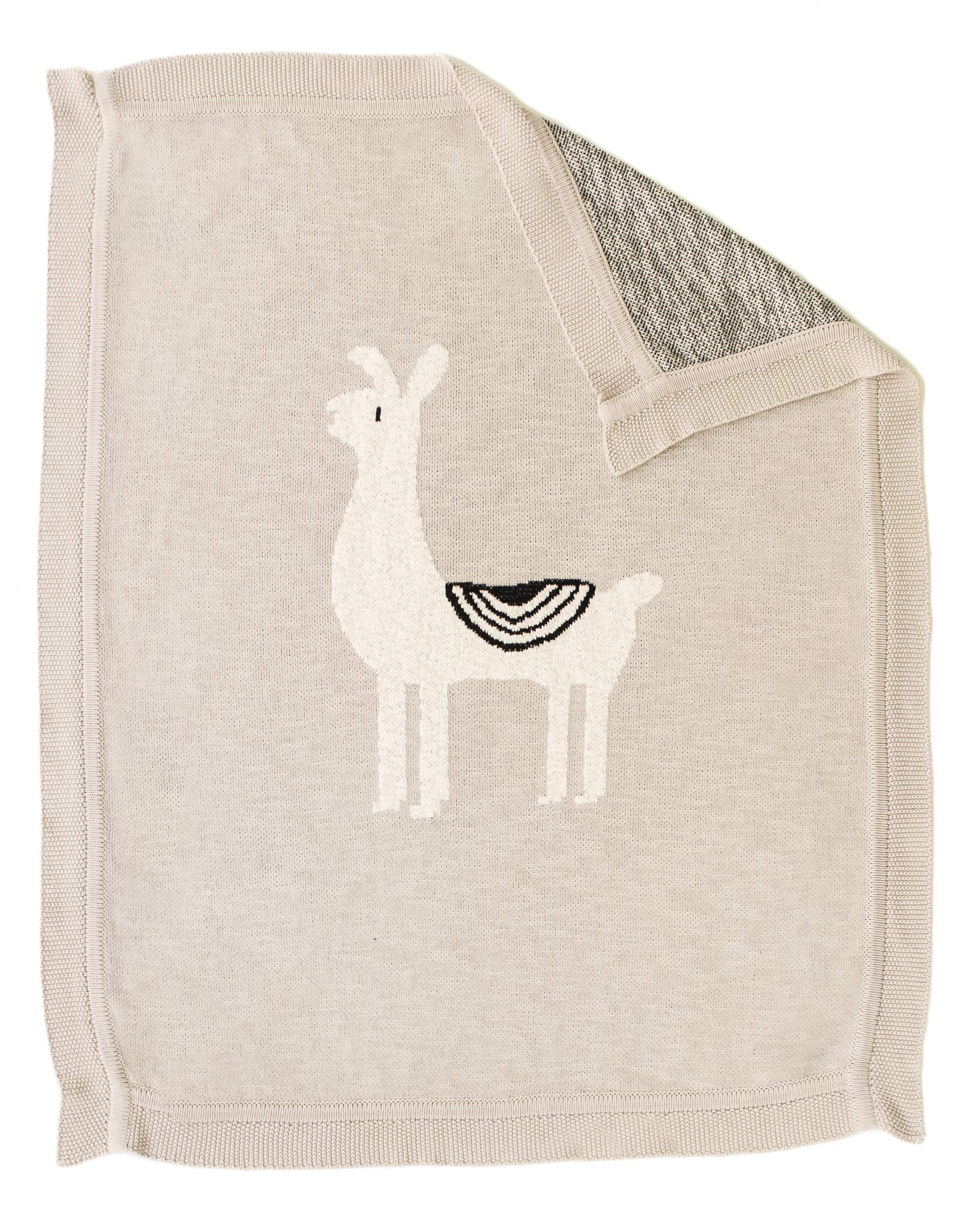 Linen Perch Luxury Llama Nursery Baby Blanket - Newborn Baby Shower Gift for Boy or Girl in Deluxe Gift Box - Unisex Cotton Llama Baby or Toddler Décor Blanket - 40 inches x 32 inches (Natural)