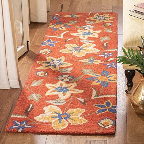 Safavieh Blossom Collection BLM673A Handmade Rust and Multi Premium Wool Runner 2 3 x 6