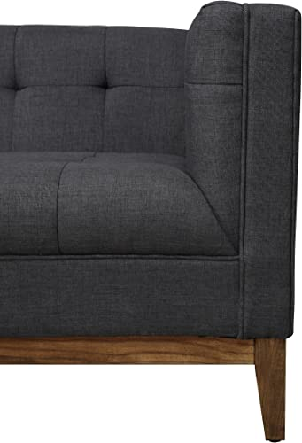 Tov Furniture The Gavin Collection Classic Linen Fabric Upholstered Wood Living Room Sofa Couch