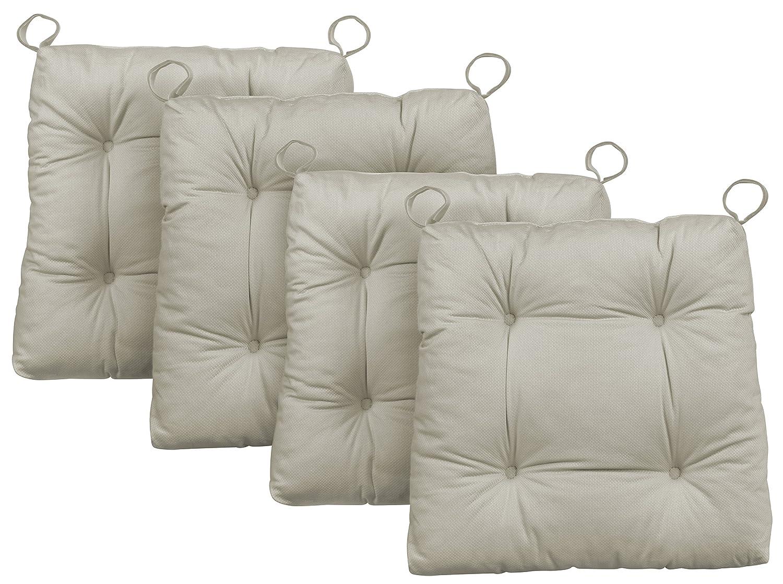 Traumnacht Sogno notte cuscino sedia Premium Set, cotone, beige, 38x 40x 7cm, 4unità 03770396105