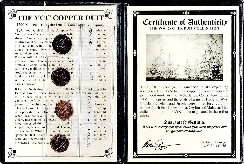 1760 NL Four VOC VOC Dutch East Indies Co Copper Duits Coins,1700s with Certificate /& Album AZ 6-7-2 VOC good