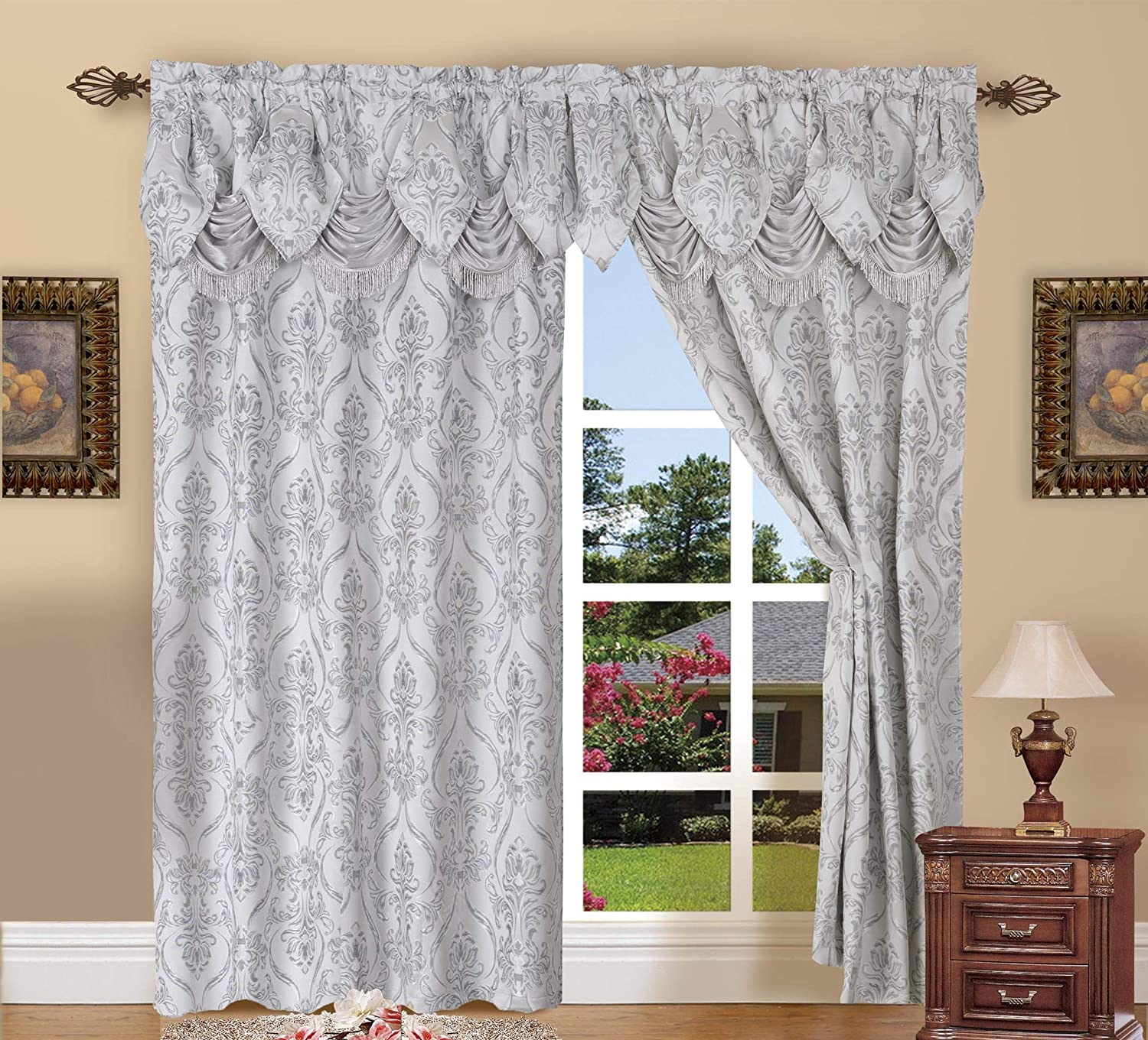 Elegant Comfort Penelopie Jacquard Look Curtain Panel Set with Attached Waterfall Valance, Set of 2 54x84 Inches Silver
