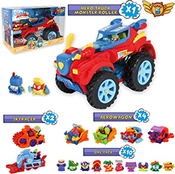 SuperZings Serie 5 - Hero Truck Monster Roller y Pack Sorpresa con 16 Sets | Contiene Juguete