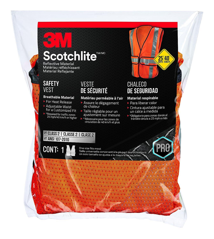 3M 94625-80030-PS Class 2 Construction Hi-Viz Safety Vest, Orange