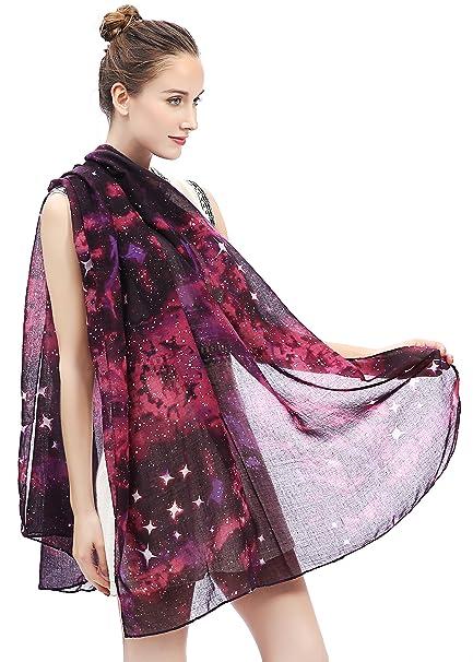 Lina   Lily Écharpe Foulard pour Femme Imprimé Galaxie Étoiles  (Violet Noir)  Amazon.fr  Vêtements et accessoires ad0ebaf5e90
