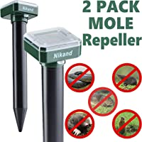 NIKAND Solar Mole Repellent Ultrasonic 2 Pack Outdoor Powered Sonic Deterrent – Groundhog Repeller Snake Gopher Rodent Spikes Chaser Pest Control - Mole Stopper Scare Vole for Lawn Garden & Yard