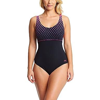 19cc3bd023ecf Zoggs Women's Diamond V Neck Clipback Swimsuit: Amazon.co.uk: Clothing