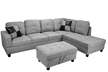 Strange Amazon Com Lifestyle Furniture Right Facing 3Pc Sectional Caraccident5 Cool Chair Designs And Ideas Caraccident5Info