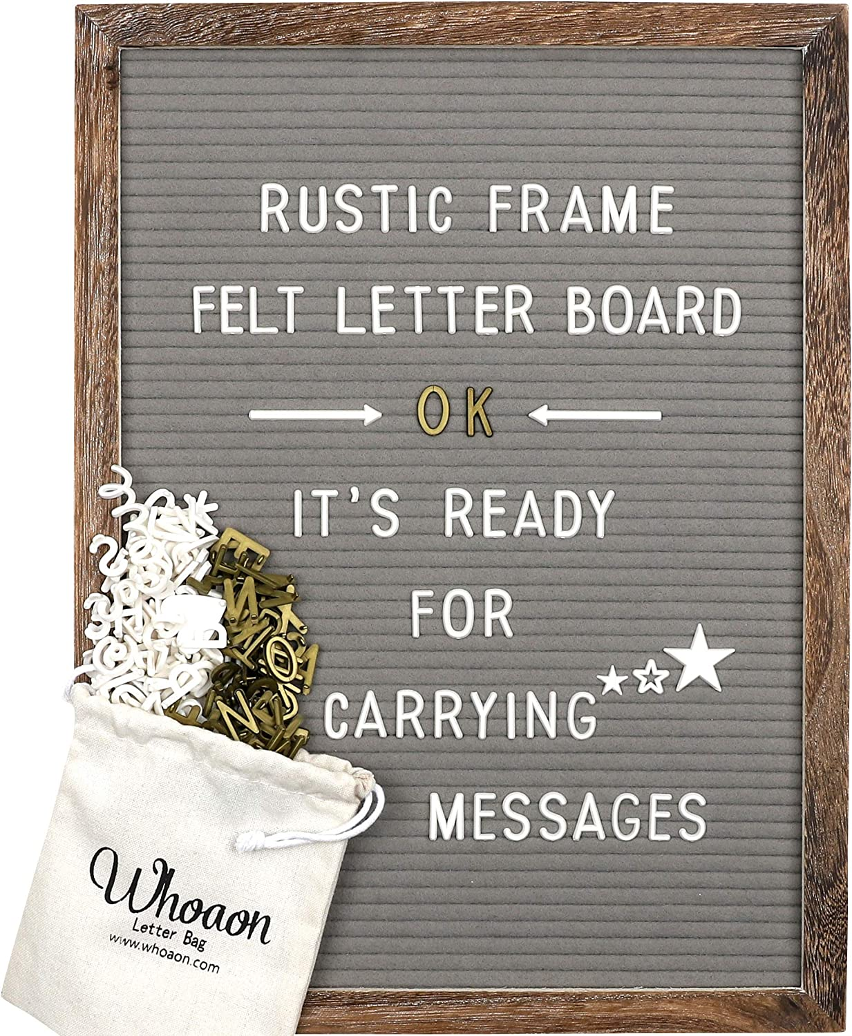 Rustic Wood Frame Gray Felt Letter Board 12x16 inch. Precut White & Gold Letters, Script Cursive Words, Wood Stand. Wall & Tabletop Board Sign for Farmhouse Home Decor. Grey Felt Message Board