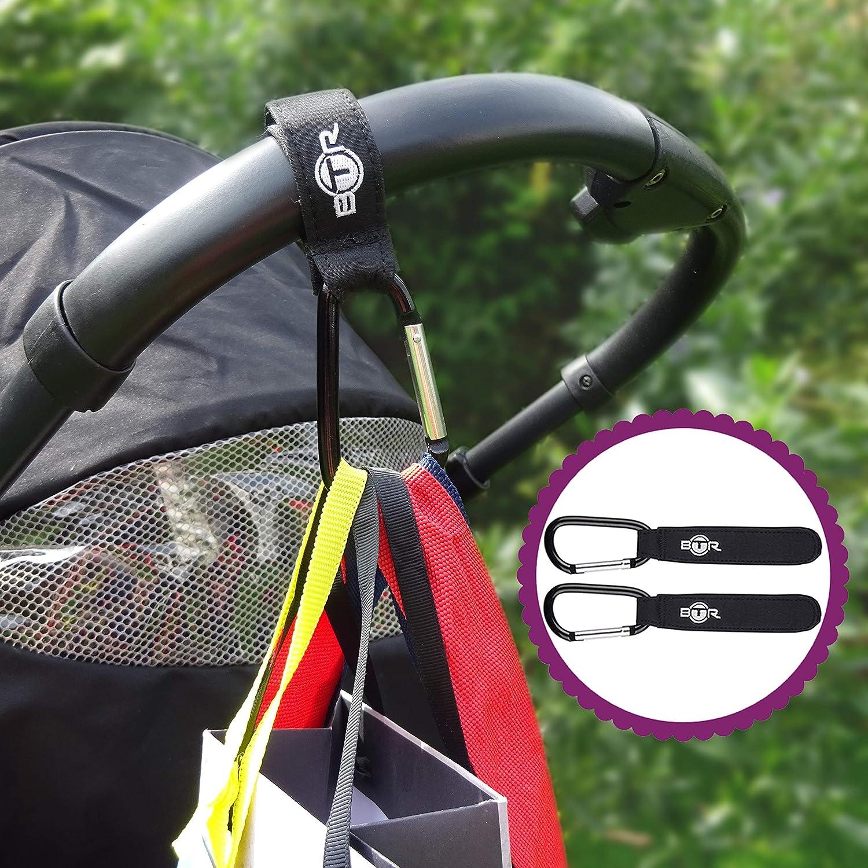 Schwarz BTR Kinderwagen Organizer Handy-Tasche /& Kinderwagen Clips