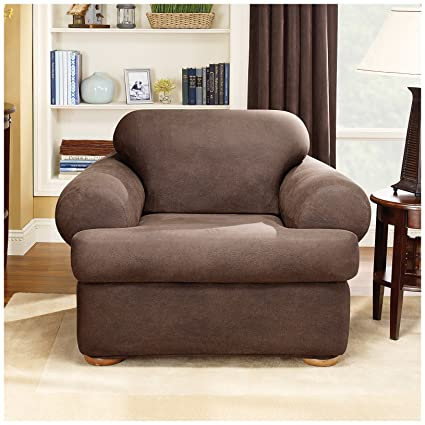 Beau Sure Fit Stretch Leather 2 Piece   Chair Slipcover   Brown (SF37328)