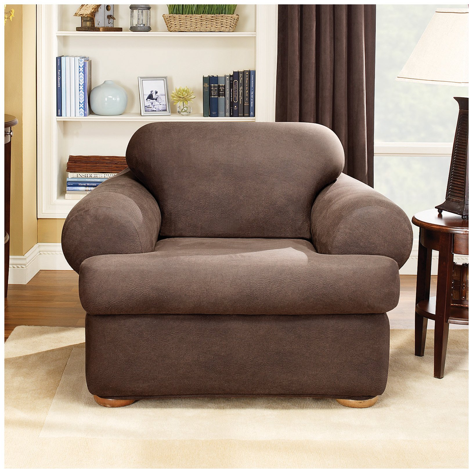 Sure Fit Stretch T-Cushion 2-piece Chair Slipcover Camel by Surefit