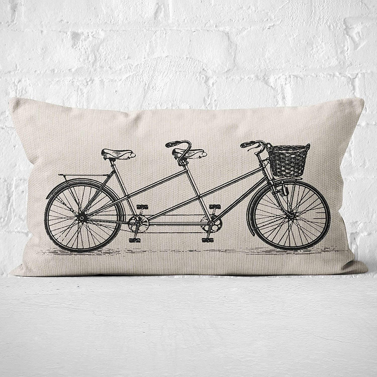 Mancheng-zi Vintage Tandem Bike Throw Pillow Cover, Gift Love Couple Wedding, Gift for Couples, Anniversary, Wedding, Engagement, Cushion Case for Sofa Bed Home Decor 20 x 12 Inch