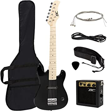 Amazon New 30 Kids Black Electric Guitar With Amp Much More Combo Accessory Kit Musical Instruments
