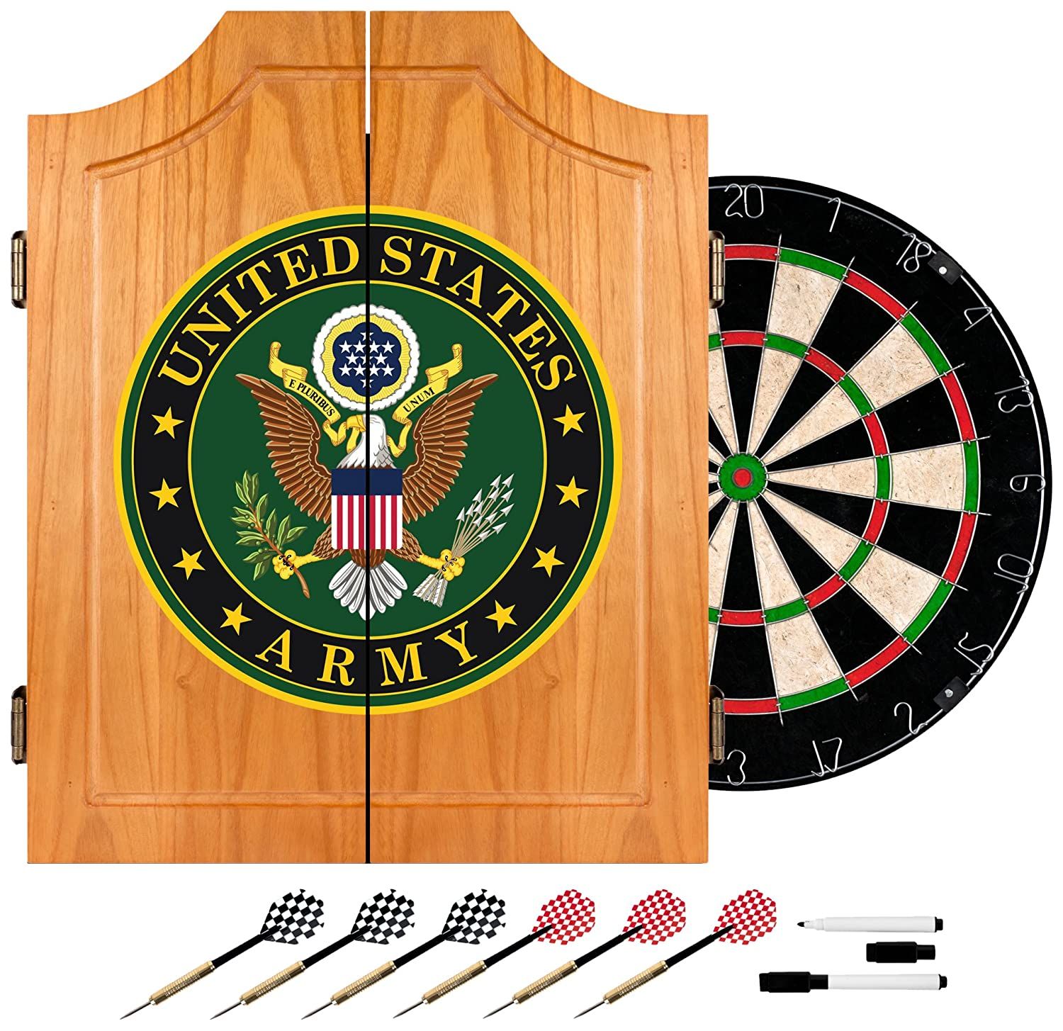 Unique Black Dart Board Cabinet Set