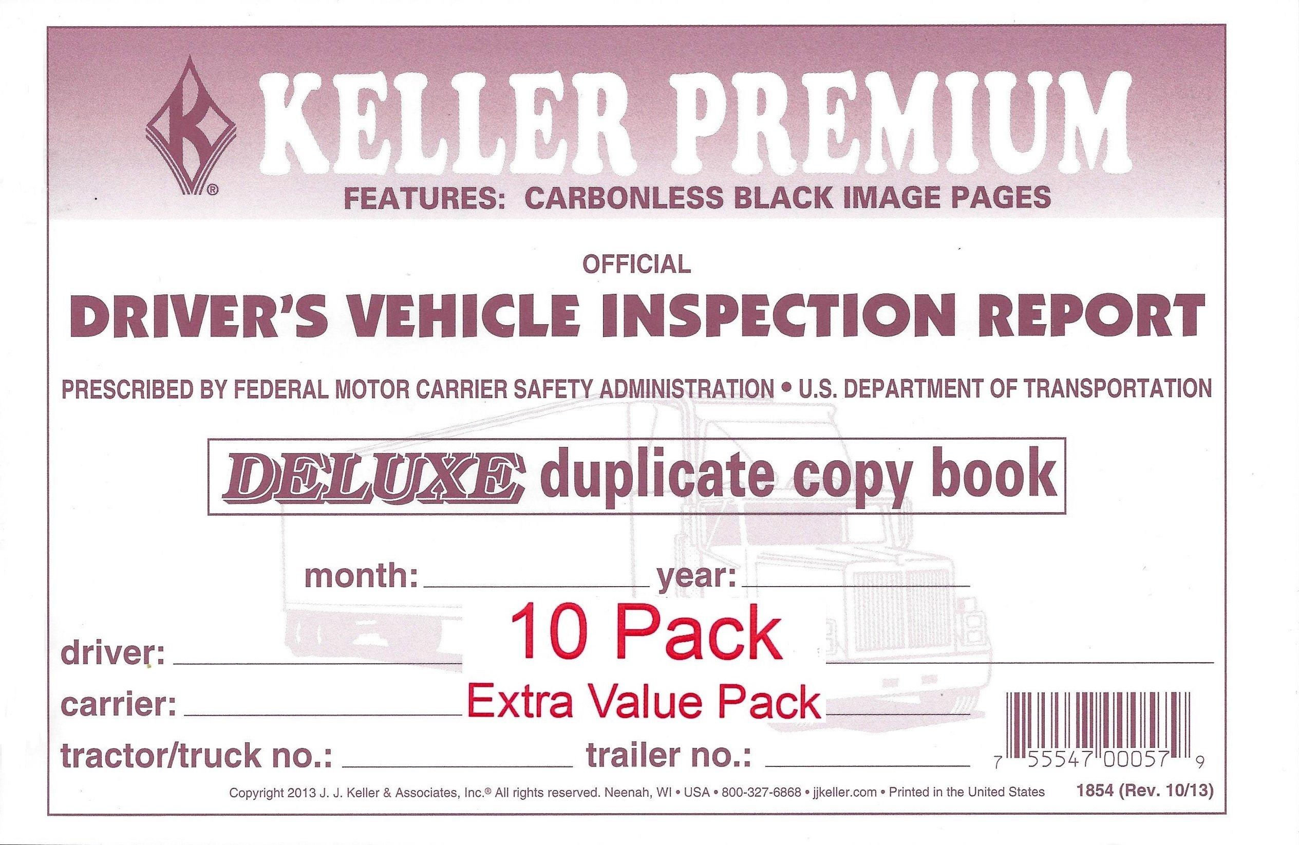 J. J. Keller 115B Detailed Drivers Vehicle Inspection Report, 2-Ply, Carbonless - Pack of 10