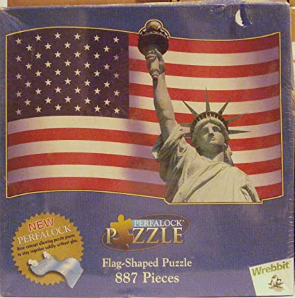 American Usa Flag Statue of Liberty Flag Shapped Puzzle 887 Pieces Perfalock 22004