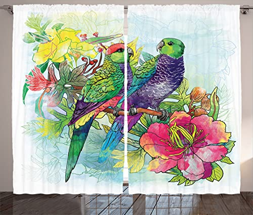Ambesonne Parrots Decor Curtains 2 Panel Set, Faded Flowers and Love Parrots Botanical Flora with Romantic Orchids Wings Boho Artful Work, Living Room Bedroom Decor, 108W X 84L Inches, Multi
