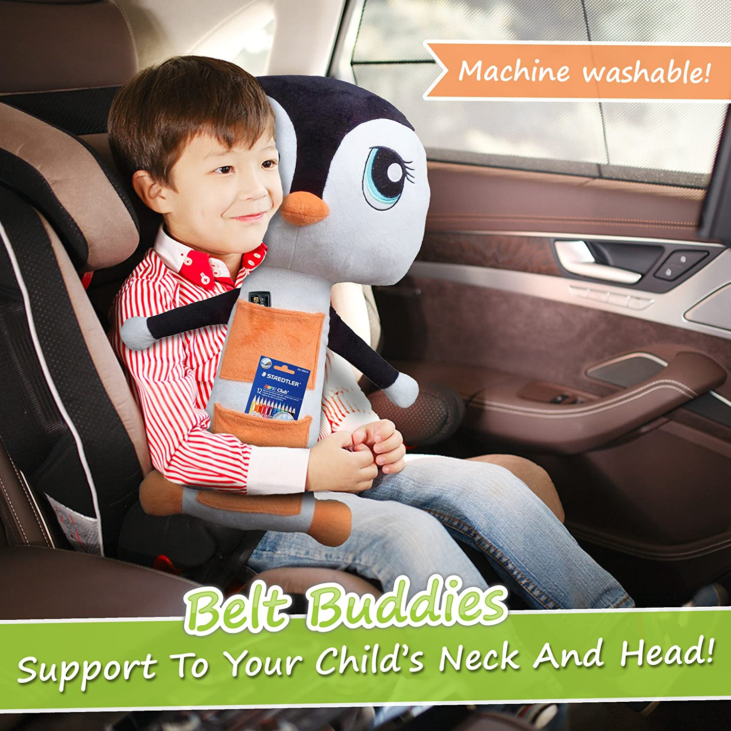 amazoncom belt buddies penguin car seat toy comfortable and safe childrens pillow for the car the ultimate kids seat belt cover baby