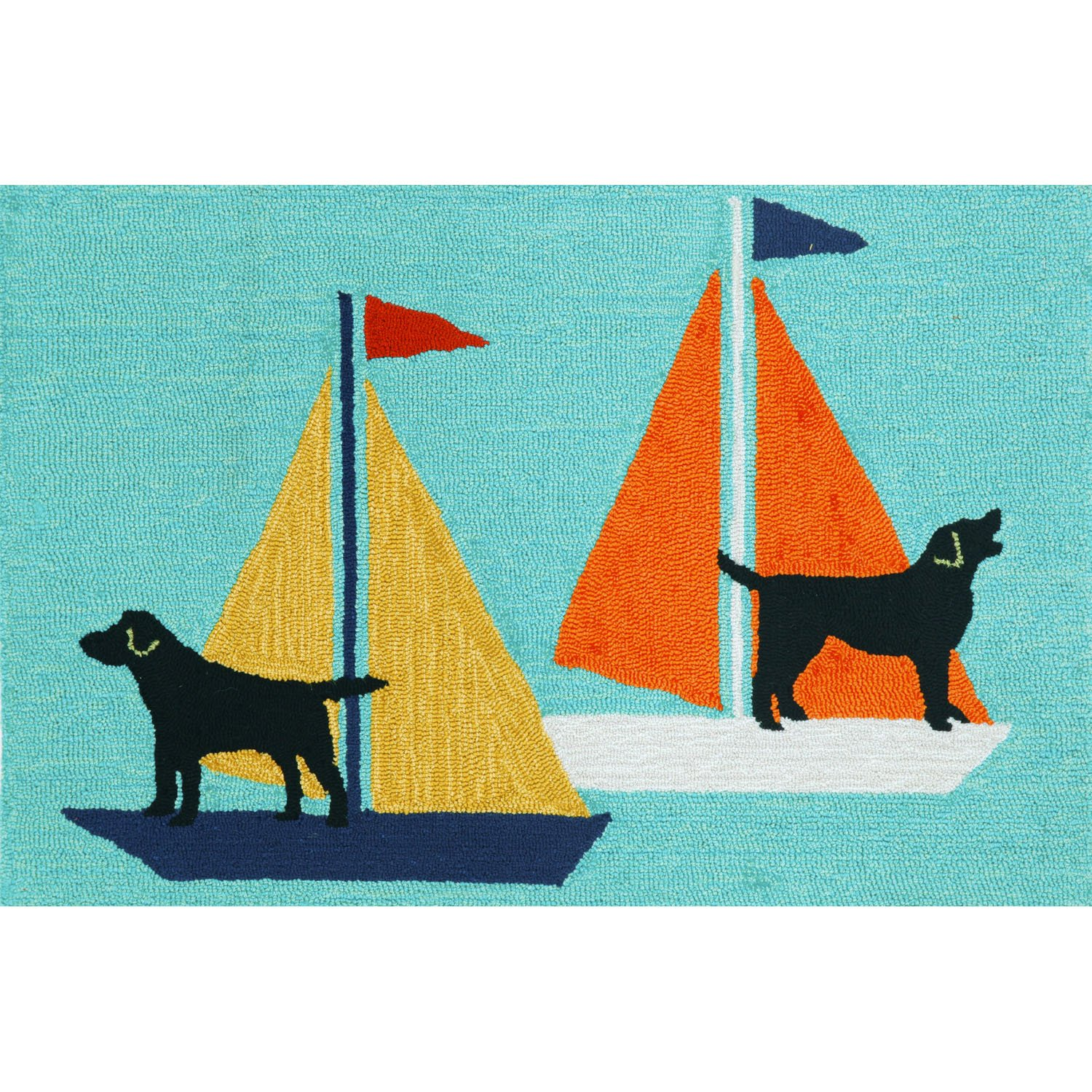 Liora Manne FT123A49903 Whimsy Boat Dog Rug, 24x 36, Blue 24x 36 The Trans Ocean Group