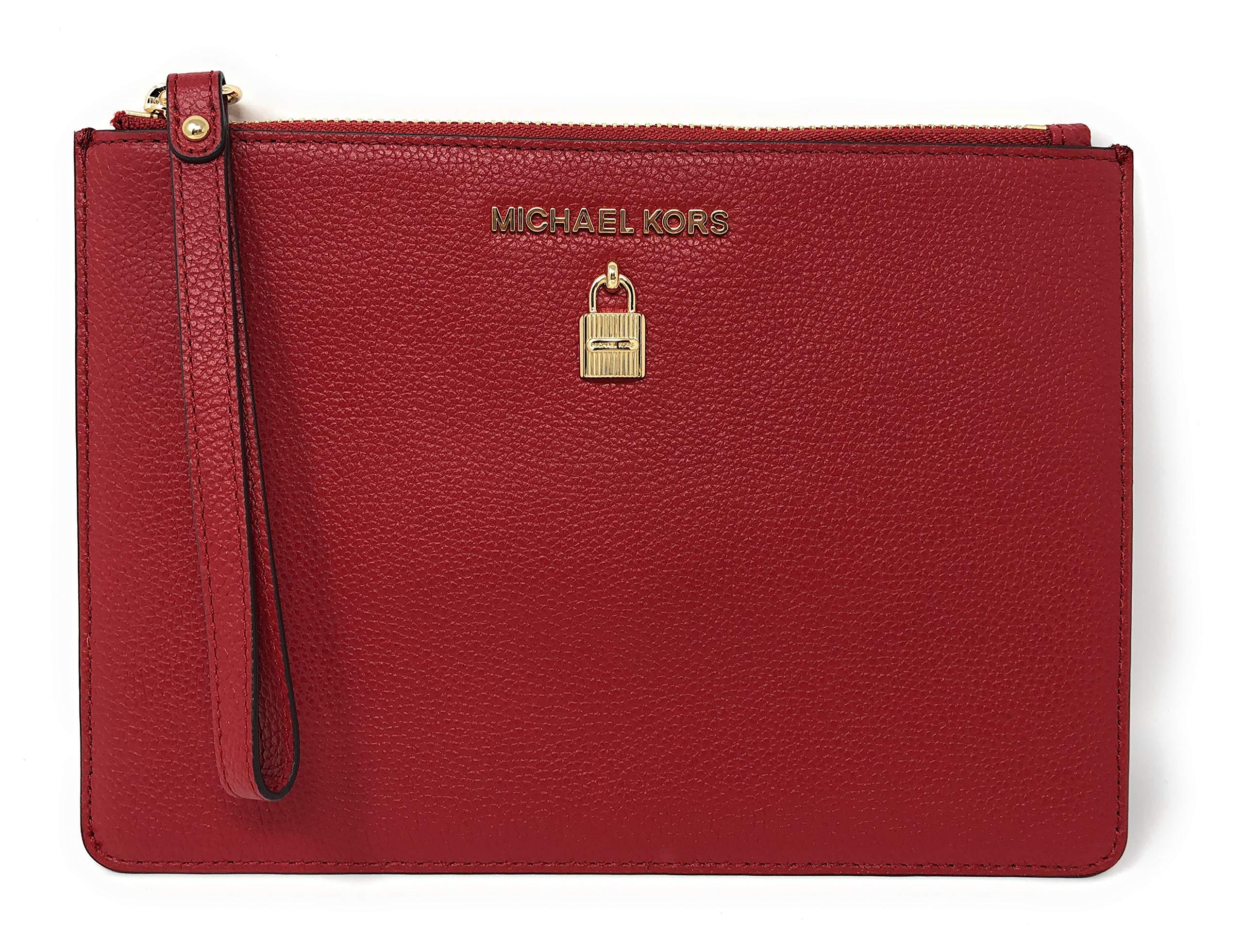Michael Kors Adele XL Large Zip Leather Clutch Wristlet Purse in Scarlet