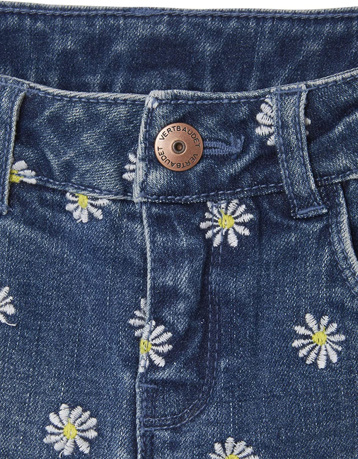 for Girls VERTBAUDET Denim Shorts with Embroidered Flowers