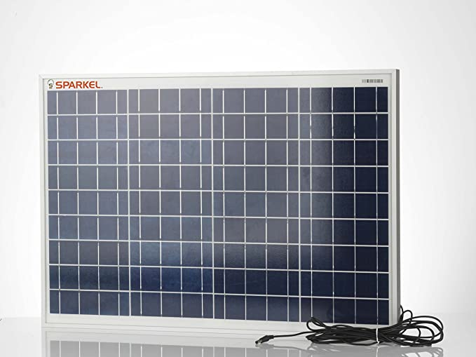 Sparkel 40W MNRE Approved Polycrystalline Solar Panel With 5 Meter Wire To Connect The Solar Panel To Your DC Device Connection supplied with Reverse Diode, High Efficient A Grade Solar Cells and Robust Aluminium Body. (SPSP-400)