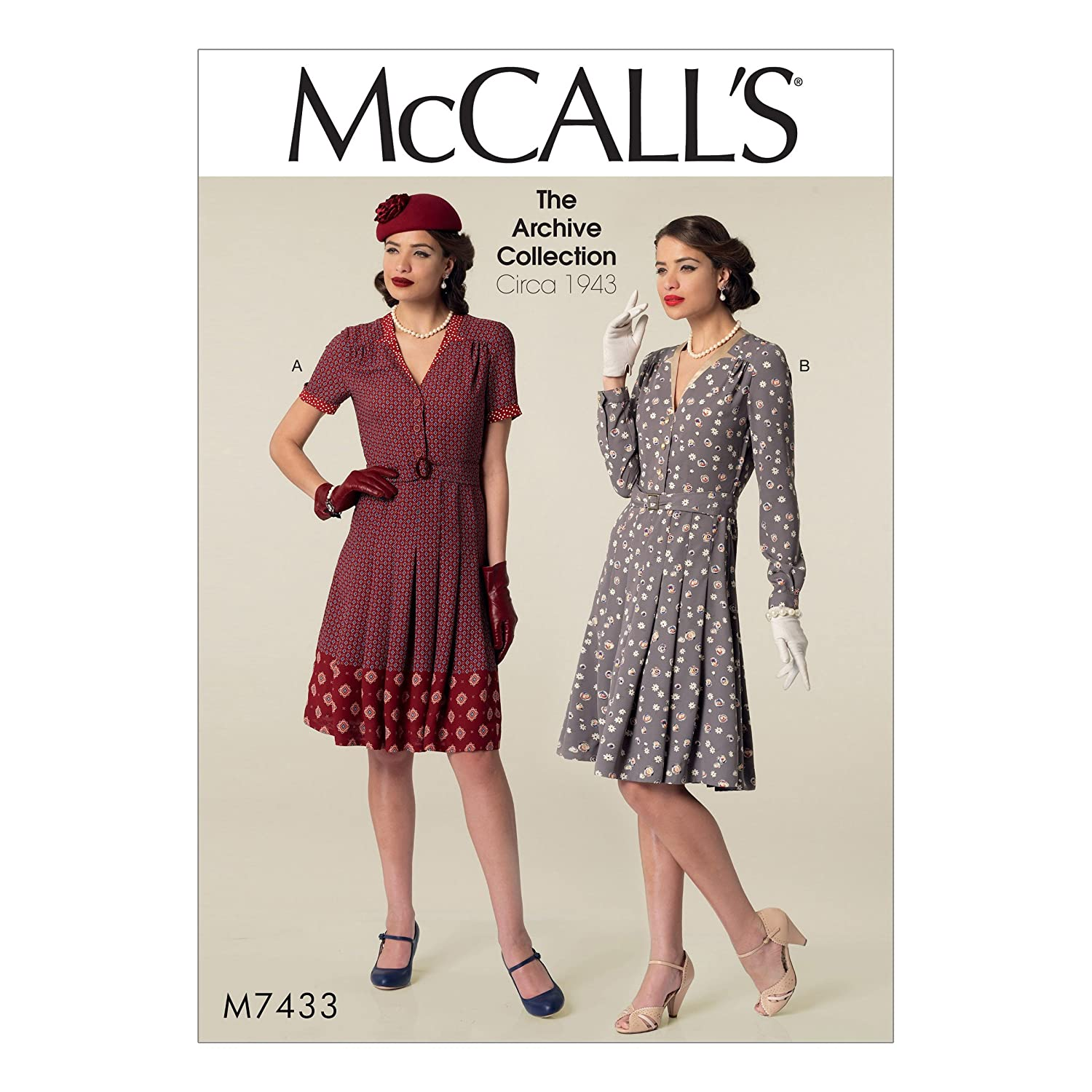 1940s Sewing Patterns – Dresses, Overalls, Lingerie etc McCalls Patterns M7433E50 Misses Inverted Notch-Collar Shirt Dresses and Belt Sewing Pattern E5 (14-16-18-20-22) $12.00 AT vintagedancer.com