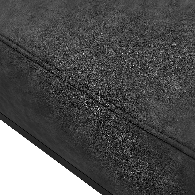 [en.casa] Modules de canapés - Fauteuil avec Coussin - 100% Polyester - Gris foncé Noir