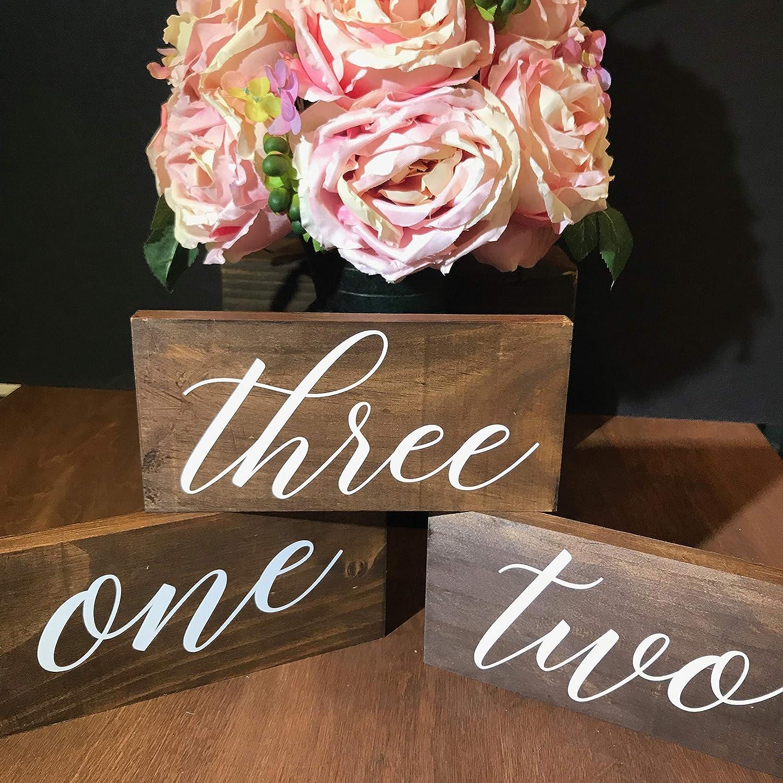 Rustic, Dark Stained Wedding Wood Block Table Numbers, 3x7