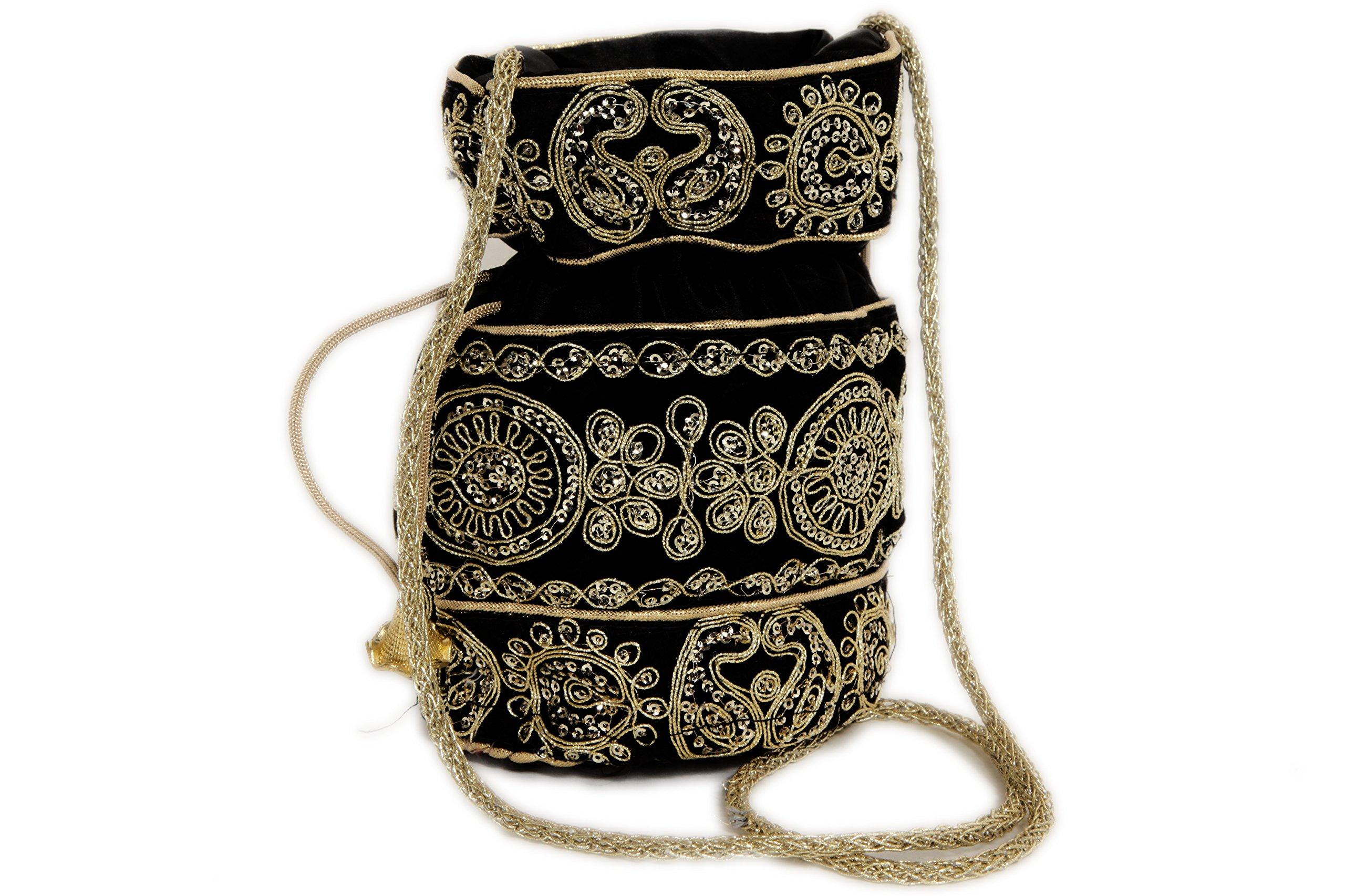 Indian Satin Potli Bag with Attractive Handicraft Thread Work for Female - Black