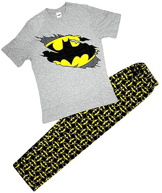 Batman Hombre Oficial Muerciélago Logo Camiseta Arriba Largo Pijamas De Algodón Tallas S M L XL - Gris