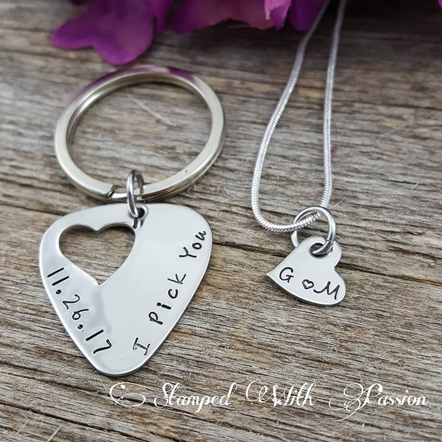 Guitar pick Keychain and necklace set hand stamped - I pick you with date - Couples Anniversary Jewelry Set - Gift for him - Gift for Her - Valentine Gift - Stainless steel handmade gifts