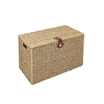 Perfect WoodLuv Small Seagrass Storage Trunk Linen Laundry Storage Basket, Natural  By WoodLuv