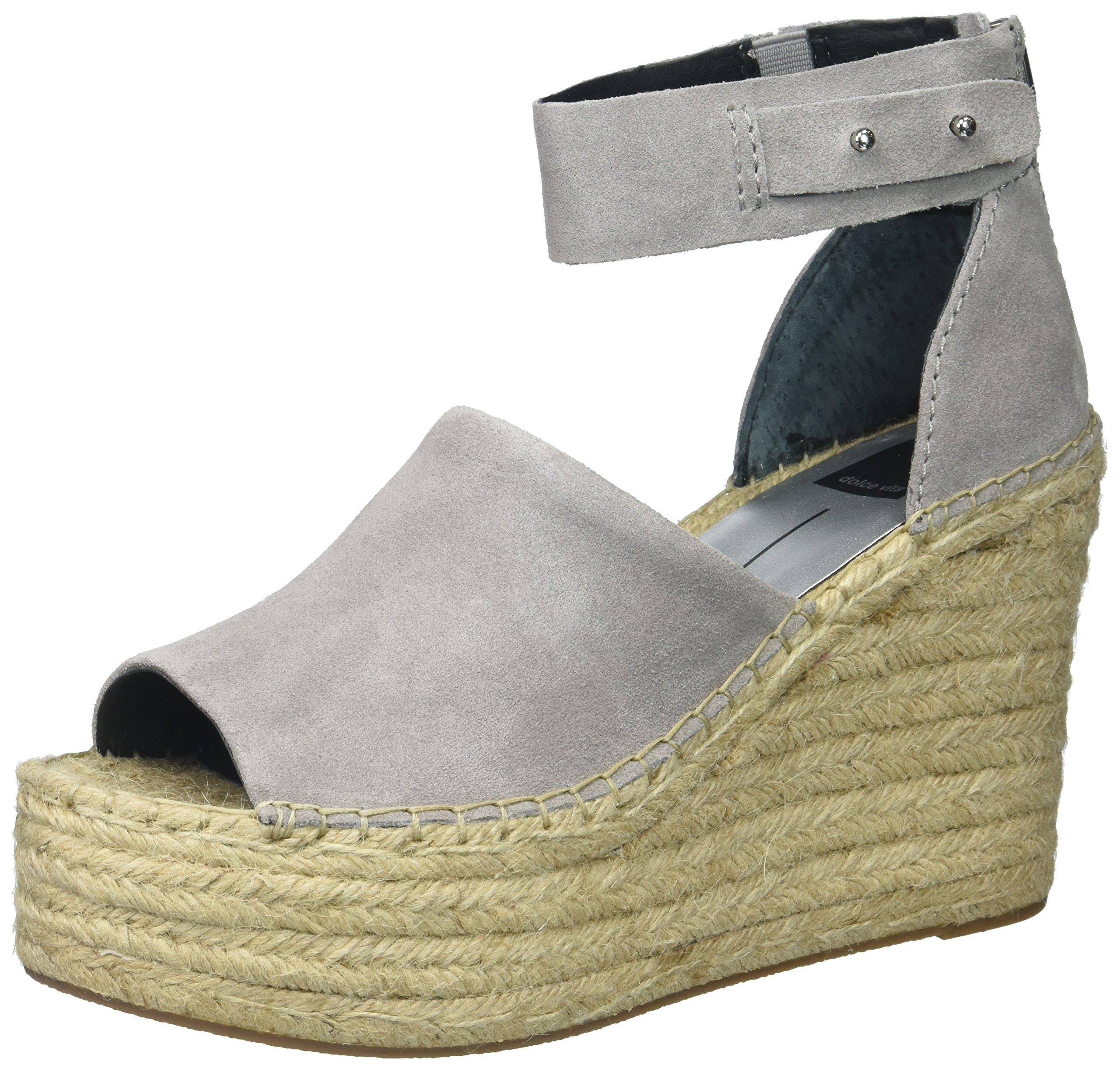 Dolce Vita Women's Straw Wedge Sandal, Smoke Suede, 7.5 Medium US