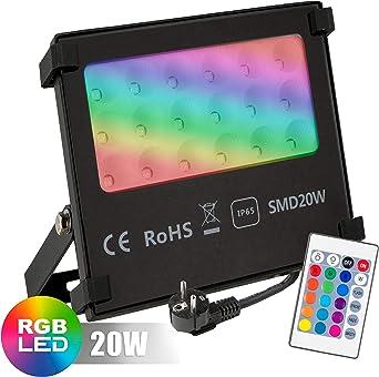 POPP® Foco RGB Led 20W Exteriores Control Remoto, Impermeable IP65 ...