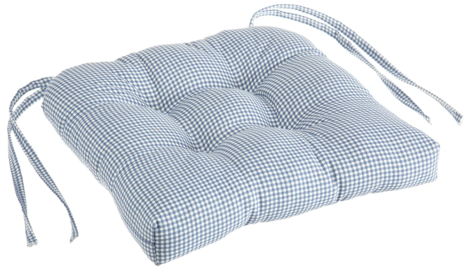 Cushions chair pads and more - Amazon Com Logan Gingham Check Print Cushioned Chair Pad Blue Home Kitchen