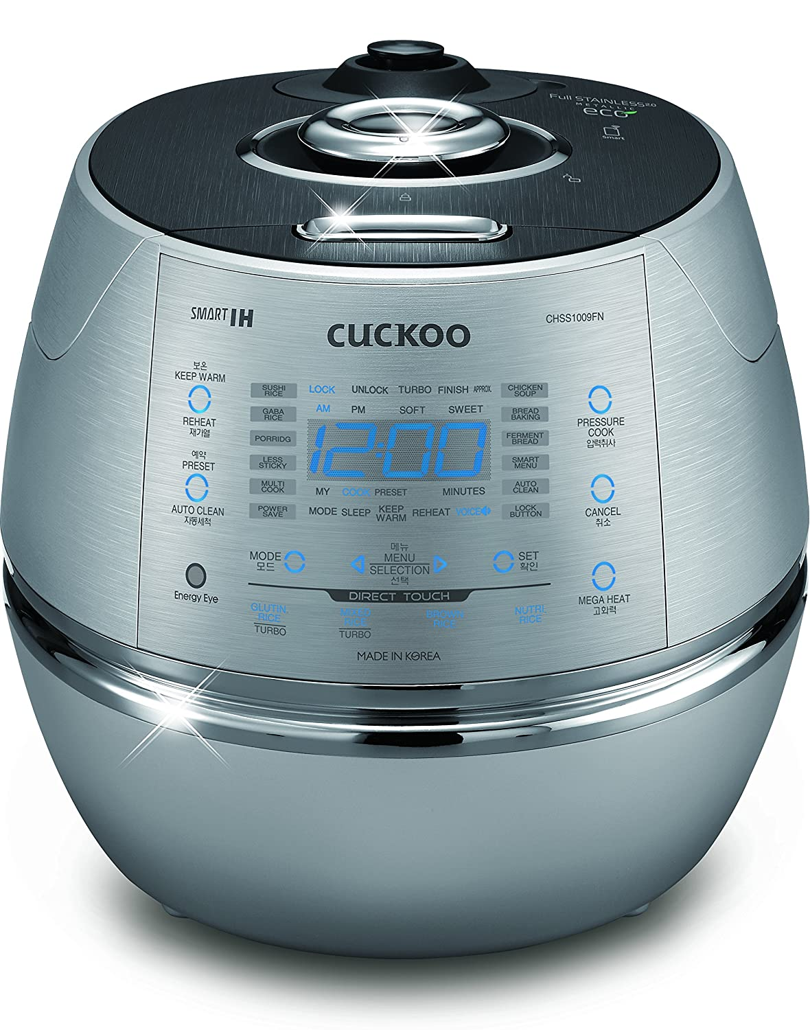 Cuckoo Electric Induction Heating Rice Pressure Cooker 10 Cup Full Stainless Steel Interior with Non-Stick Coating - 3 - Language Voice Navigation and LED Screen with Touch Selection Menu – Metallic