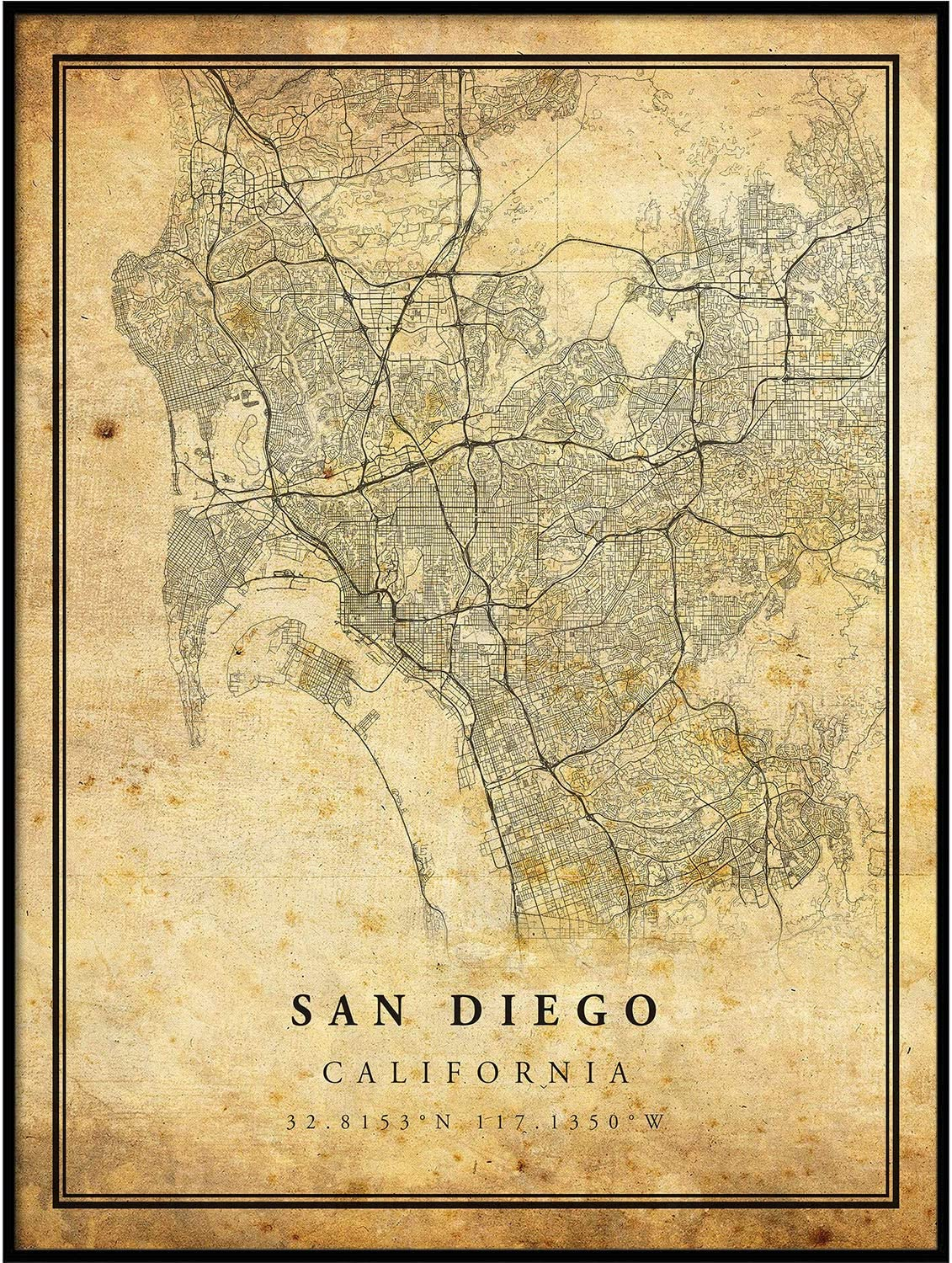 San Diego map Vintage Style Poster Print | Old City Artwork Prints | Antique Style Home Decor | California Wall Art Gift | Vintage map Wedding 8.5x11