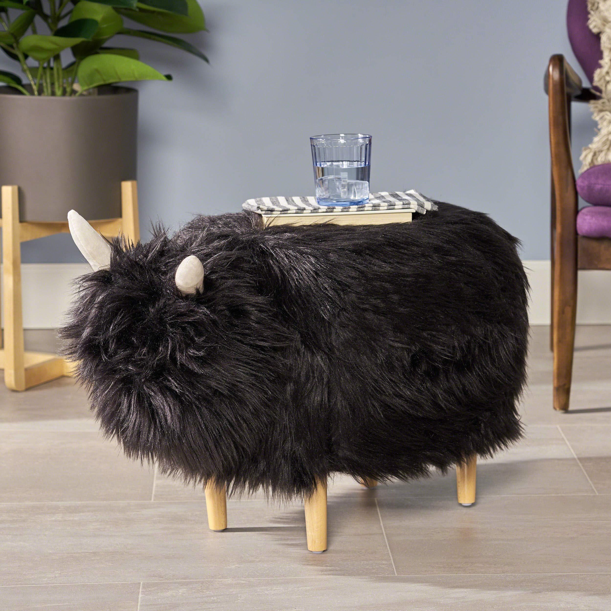 Christopher Knight Home Kamla Furry Yak Ottoman, Black, Natural Finish by Christopher Knight Home