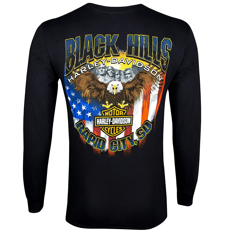 Harley-Davidson Mens Black Hills Patriot Black Long Sleeve T-Shirt