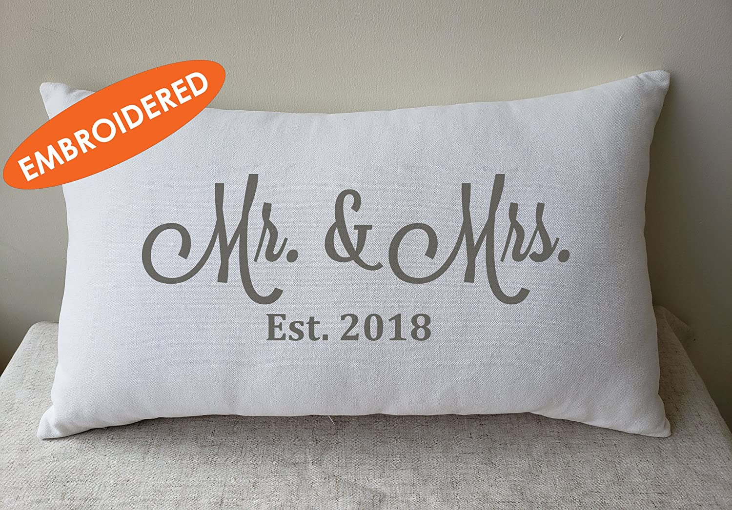 DecorHouzz Embroidered Lumbar Cushion - Mr. & Mrs,100% Organic Cotton, Calligraphy Home Decor, Shop Small, Housewarming gift, Cushion Cover