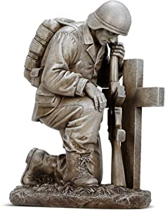 "Kneeling Soldier by Cross Gravestone 8"" Resin Stone Garden Statue Figurine"