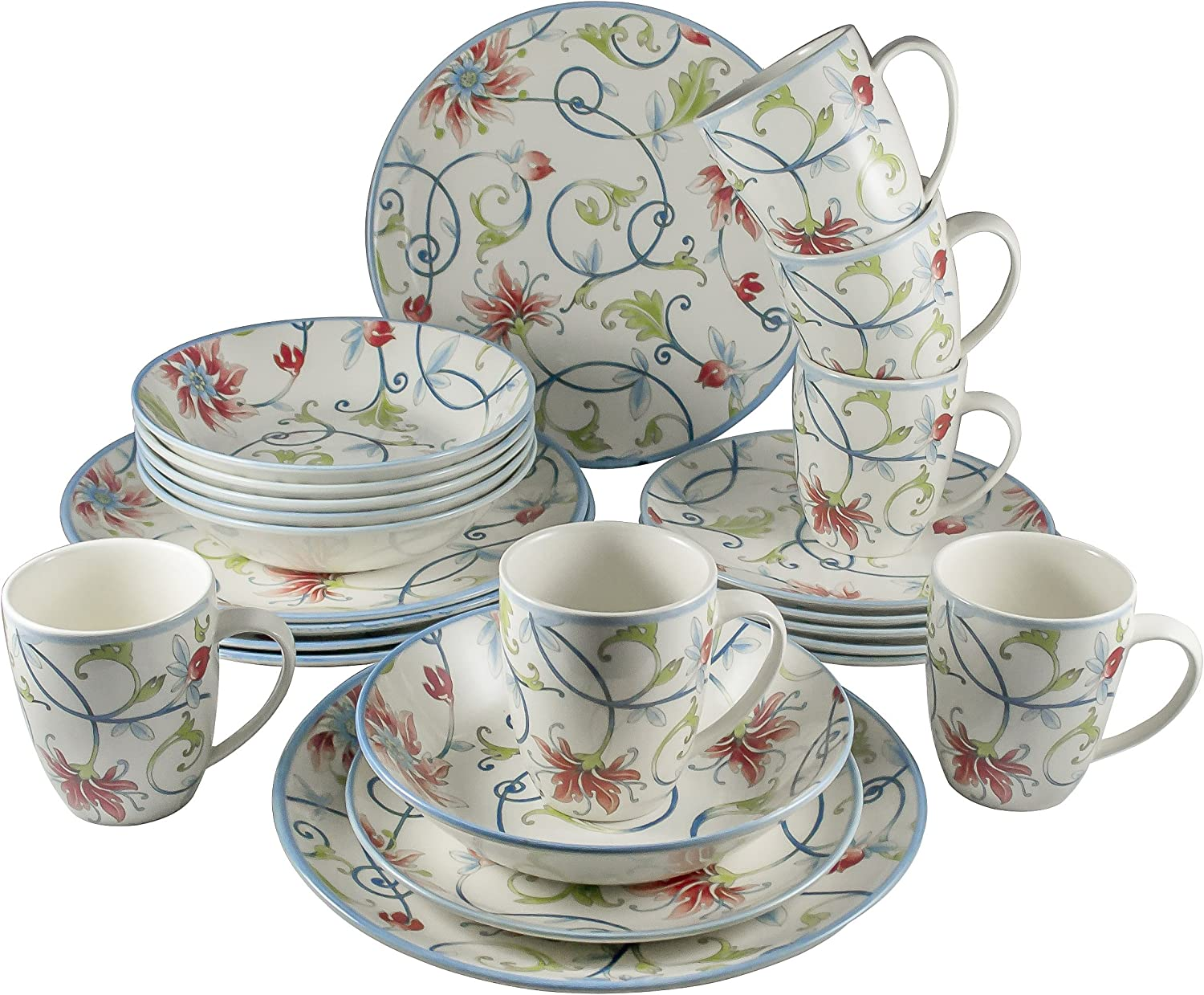 Tudor Royal Collection 24 Piece Premium Quality Round Porcelain Dinnerware Set Service For 6 Botanical See 10 Designs Inside Dinnerware Sets Amazon Com
