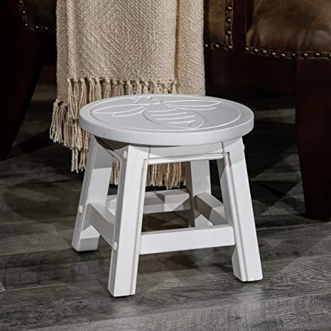 Sensational Dty Indoor Living Fairplay Carved Wooden Step Stool Queen Bee Antique White Ibusinesslaw Wood Chair Design Ideas Ibusinesslaworg