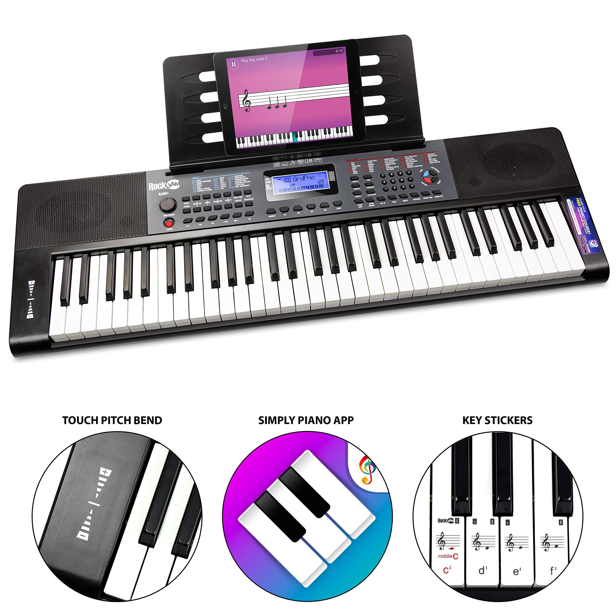 RockJam, 61 Key RJ461 61-Key Portable Electric Keyboard Power Supply, Sheet Music Stand and Pitch Bend, 61 Key ( by RockJam