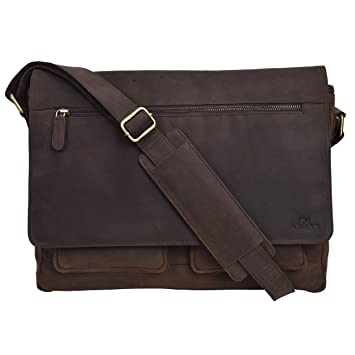 da7e6894e09a Genuine Leather Messenger Bag for Men and Women - 14 inch Laptop Bag for  College Work Office by LEVOGUE (Brown Hunter)