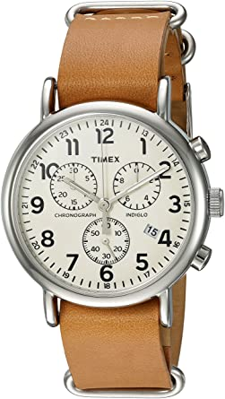 2a9fd452a Timex Weekender Chrono Analog-Quartz Watch with Leather Strap, Brown, 20  (Model